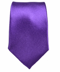 Paul Malone SLIM TIE . 2.5' wide . 100% Silk . Solid Purple