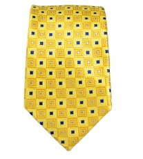 Paul Malone SLIM TIE . 2.5' wide . 100% Silk . Yellow and Navy (Slim689)