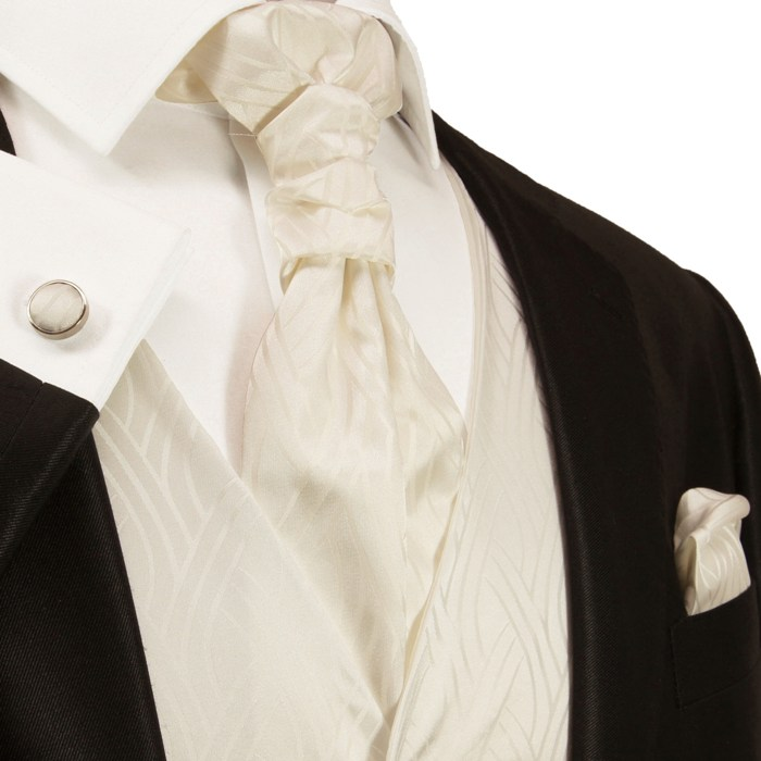 Ivory tuxedo vest set vest includes necktie ascot tie for Mens ivory dress shirt wedding