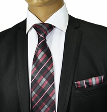 Pink and Black Silk Tie Set . Paul Malone