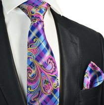 Pink and Blue Necktie and Pocket Square Set