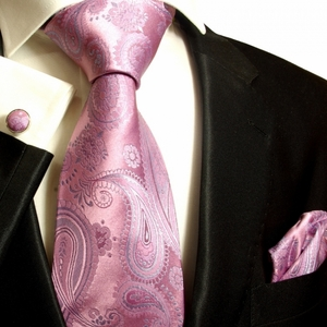 Pink and Blue Paisley Paul Malone Silk Tie Set (686CH)