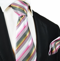 Pink and Gold Striped Silk Tie and Pocket Square by Paul Malone