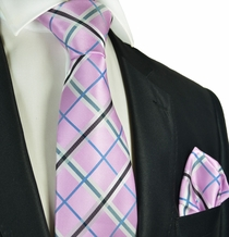 Pink and Grey Tie and Pocket Square