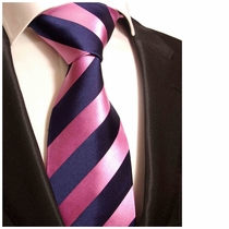 Pink & Navy Striped Paul Malone Silk Necktie (453)