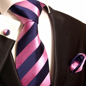 Pink & Navy Stripes Paul Malone Club Tie Set (453CH)
