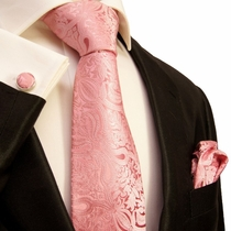 Pink Paisley Silk Necktie Set by Paul Malone (575CH)