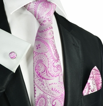 Pink Paisley Neck Tie Set by Paul Malone