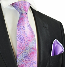 Pink Paisley Tie with Contrast Rolled Pocket Square Set