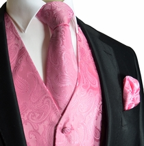 Pink Paisley Wedding Vest Set (Q20-F)