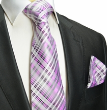 Pink Plaid Silk Tie and Pocket Square , Paul Malone