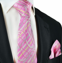 Pink Silk Tie and Pocket Square by Paul Malone