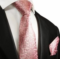 Pink Silk Tie and Pocket Square Set by Paul Malone