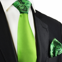 Piquant Green Contrast Tie and Pocket Square by Paul Malone