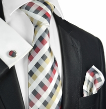 Plaid Silk Necktie Set by Paul Malone
