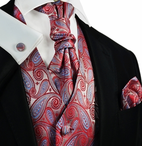 Poinsettia Red and Blue Paisley Tuxedo Vest Set