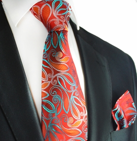 Pompeian Red and Turquoise Silk Tie Set by Paul Malone