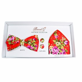 Poppy Red Floral Bow Tie Gift Box
