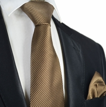 Praline Brown 7-fold Silk Tie and Pocket Square Set