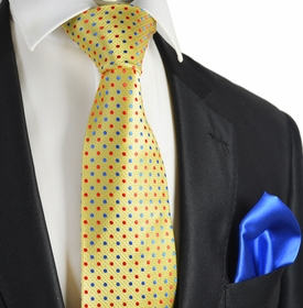 Primrose Yellow 7-fold Silk Tie and Pocket Square by Paul Malone