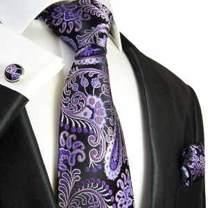 Purple and Black Necktie Set by Paul Malone . Paisley . 100% Silk (552CH)