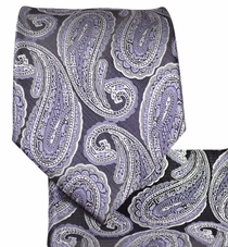 Purple and Black Paisley Necktie Set