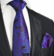 Purple and Black Paisley Necktie Set (Q600-P)