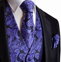 Purple and Black Paisley Tuxedo Vest Set with Tie and Pocket Square