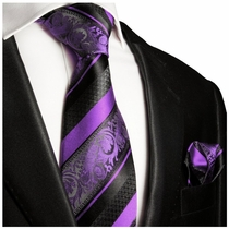 Purple and Black Silk Tie Set . Paul Malone
