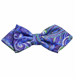 Purple and Blue Paisley Silk Bow Tie by Paul Malone