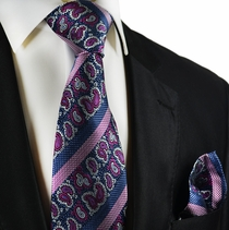 Purple and Blue Silk Tie Set by Paul Malone
