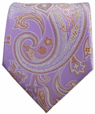 Purple and Copper Paisley Men's Necktie