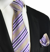 Purple and Gold Striped Silk Tie and Square by Paul Malone