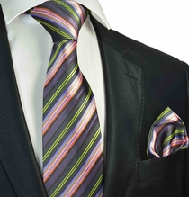 Purple and Pink Striped Tie and Pocket Square Set
