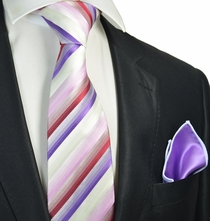 Purple and Red Striped Tie with Contrast  Rolled Pocket Square Set