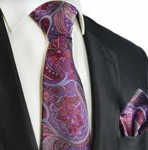 Purple and Ruby Wine Silk Tie and Pocket Square by Paul Malone