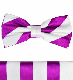 Purple and White Silk Bow Tie and Pocket Square Set by Paul Malone