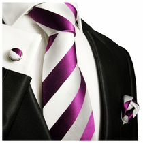 Purple and White Paul Malone Silk Tie Set (451CH)
