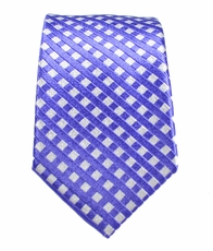 Purple and White Slim Silk Tie by Paul Malone