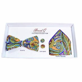 Purple and Yellow Paisley Bow Tie Gift Box