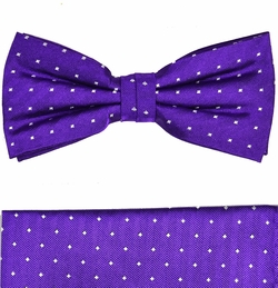 Purple Bow Tie and Pocket Square Set by Paul Malone . 100% Silk (BT449H)