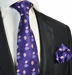 Purple Floral Tie and Pocket Square Set