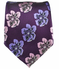 Purple Flower Patterned Men's Tie