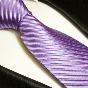 Purple Paul Malone Silk Necktie . Color on Color Stripes (951)