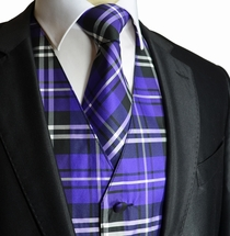 Purple Plaid Tuxedo Vest and Necktie Set