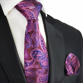 Purple Potion and Navy Silk Tie Set by Paul Malone