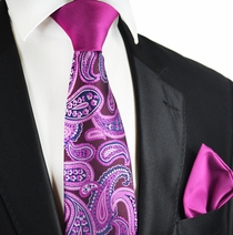 Purple Potion Paisley Contrast Knot Tie Set by Paul Malone