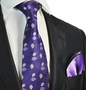 Purple Tie with Violet Rolled Pocket Square Set
