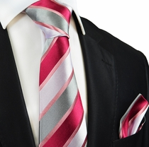 Raspberry Striped Silk Tie and Pocket Square by Paul Malone