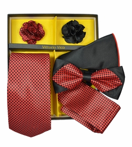 Red and Black Checkered Tie Set Gift Box